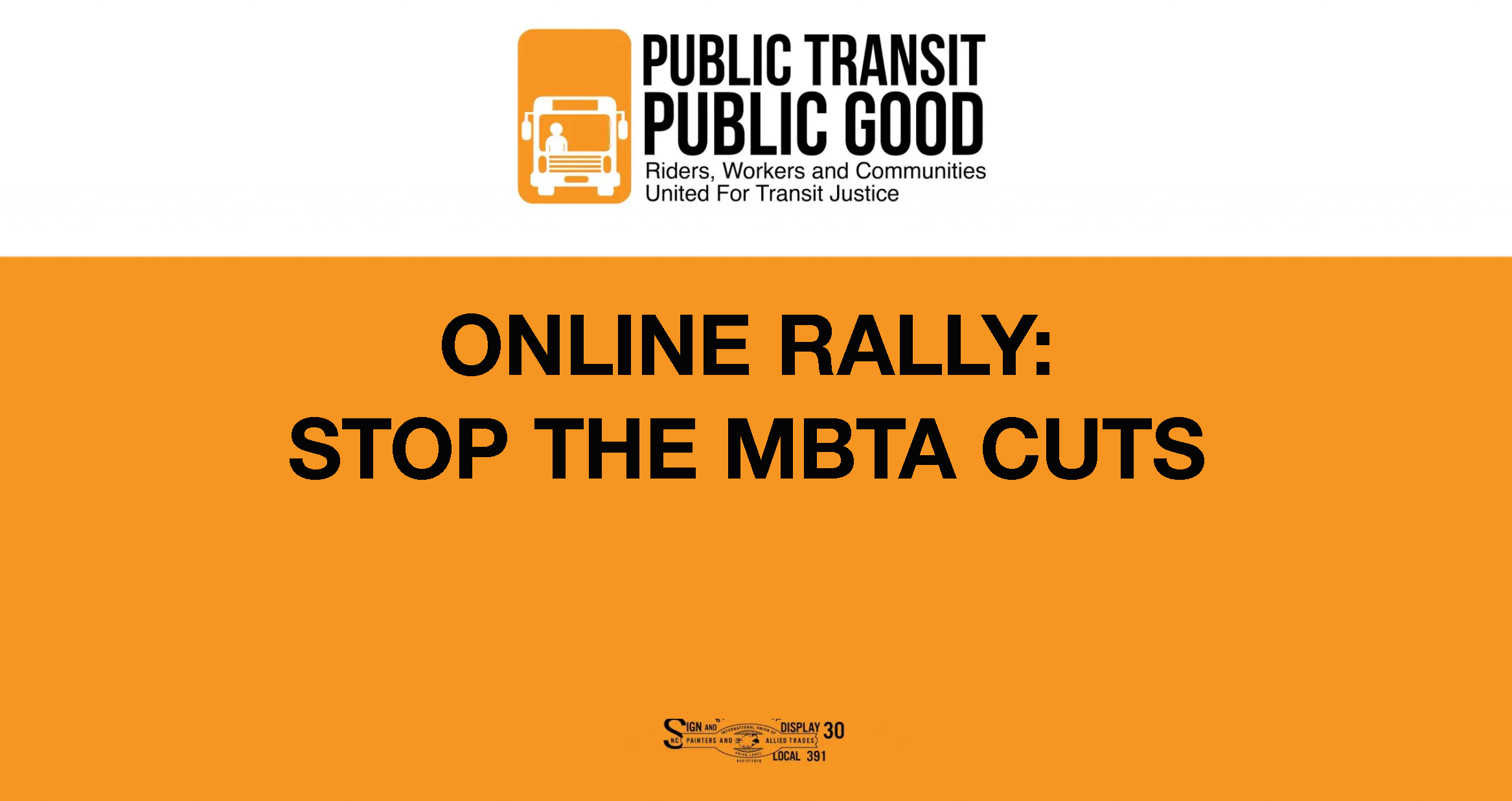 ONLINE RALLY: STOP THE MBTA CUTS
