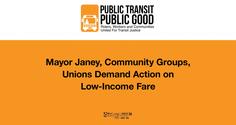 Mayor Janey, Community Groups, Unions Demand Action on Low-Income Fare